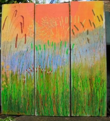 Orange Hay Triptych