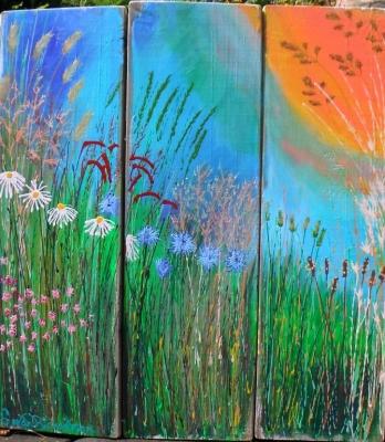 Blue Hay Triptych