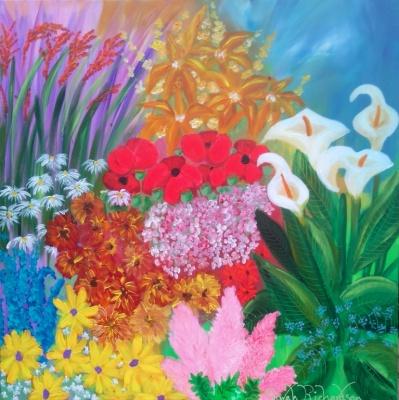 Flower Border with Arums Acrylic 100x100cm2.JPG