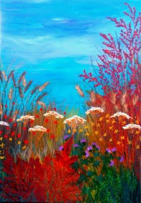 Autumn hayfield with Thistle 80x100x4cm Acrylic.JPG